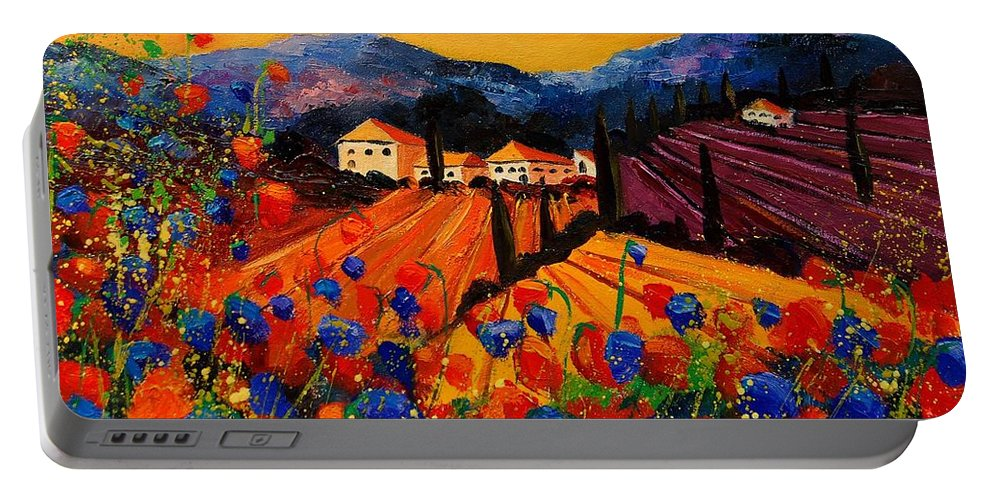 Poppies Portable Battery Charger featuring the painting Tuscany Poppies by Pol Ledent