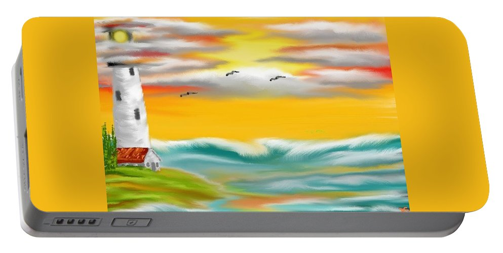 Tuscany Portable Battery Charger featuring the painting Tuscany Sea by Kinepela Smith