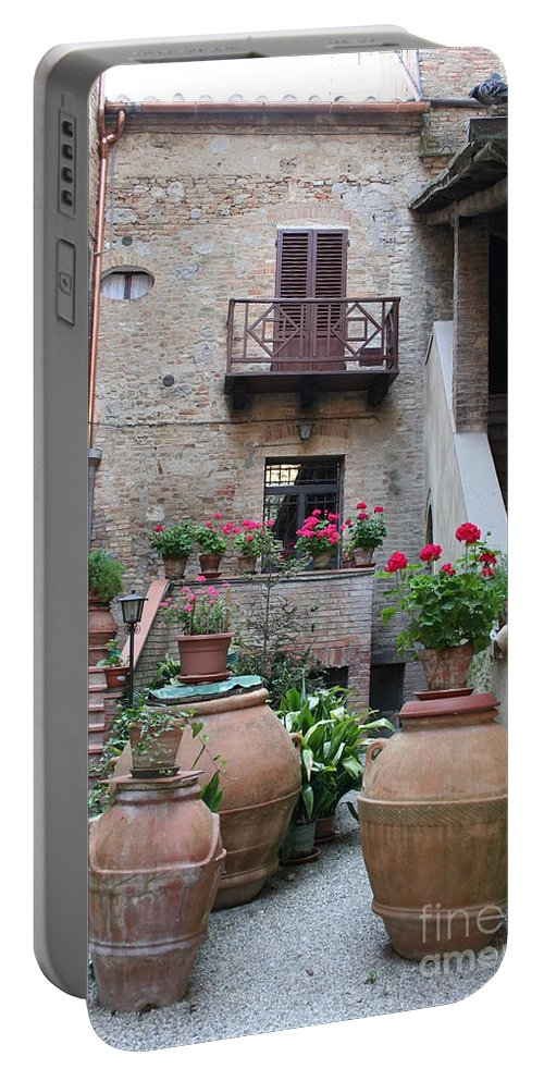 Yard Portable Battery Charger featuring the photograph Tuscany Yard by Christiane Schulze Art And Photography