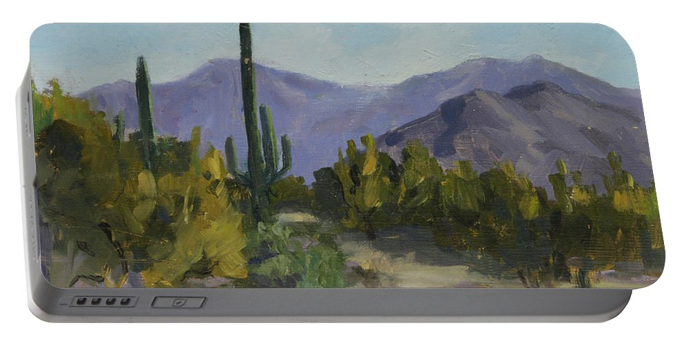 Saguaro Portable Battery Charger featuring the painting The Serene Desert by Maria Hunt