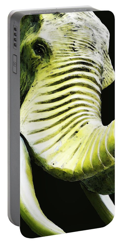 Elephant Portable Battery Charger featuring the painting Tusk 1 - Dramatic Elephant Head Shot Art by Sharon Cummings