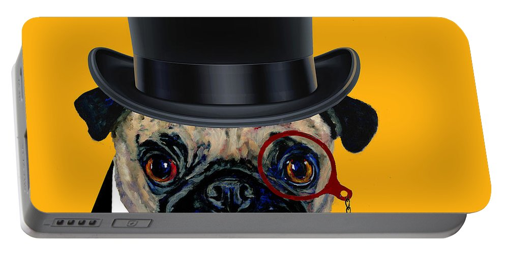 Pug Portable Battery Charger featuring the painting Tux Pug by Dale Moses