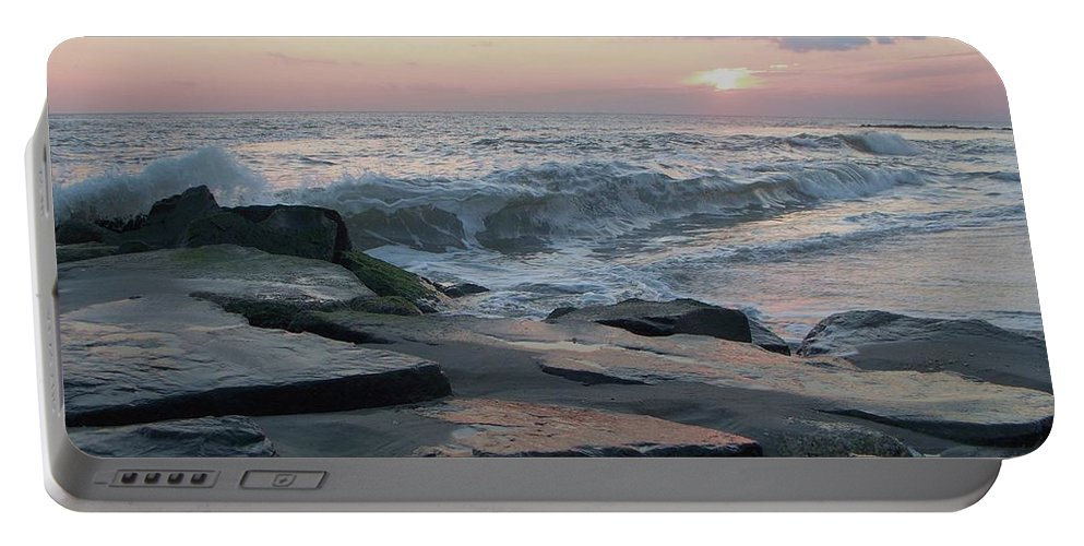 Twilight Portable Battery Charger featuring the photograph Twilight At Cape May In October by Eric Schiabor