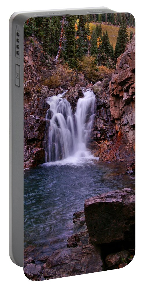 Colorado Portable Battery Charger featuring the photograph Twilight Falls 2 by Jeremy Rhoades
