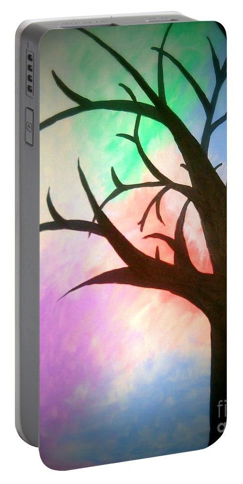 Tree Portable Battery Charger featuring the painting Twilight by Lynn Williams
