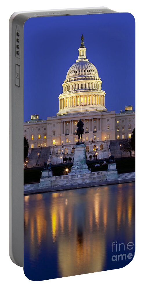 Capital Portable Battery Charger featuring the photograph Twilight Over Us Capitol by Brian Jannsen