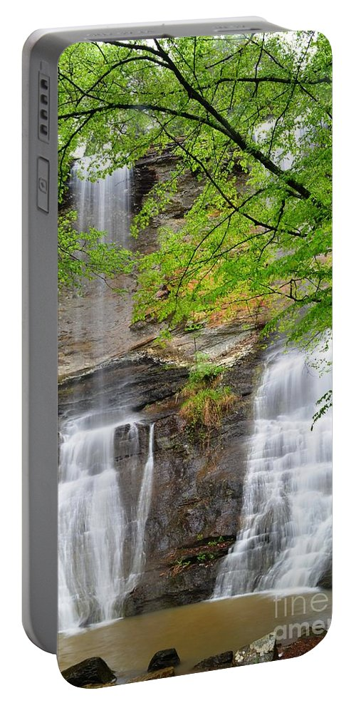 Waterfalls Portable Battery Charger featuring the photograph Twin Falls by Deanna Cagle