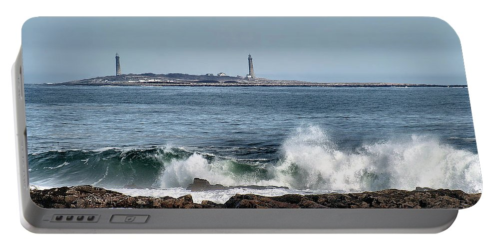 Lighthouse Portable Battery Charger featuring the photograph Twin Lights by Karl Ford