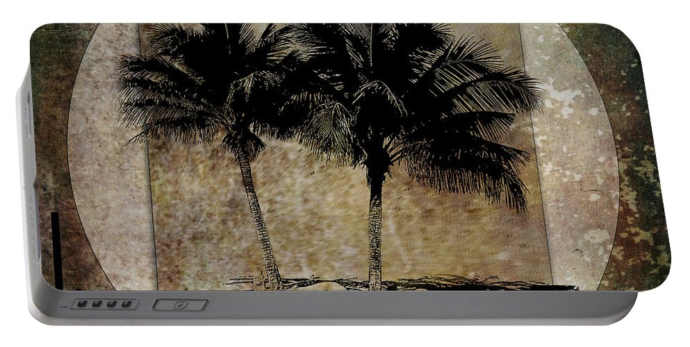 Palm Trees Portable Battery Charger featuring the digital art Twin Palms by Nola Lee Kelsey