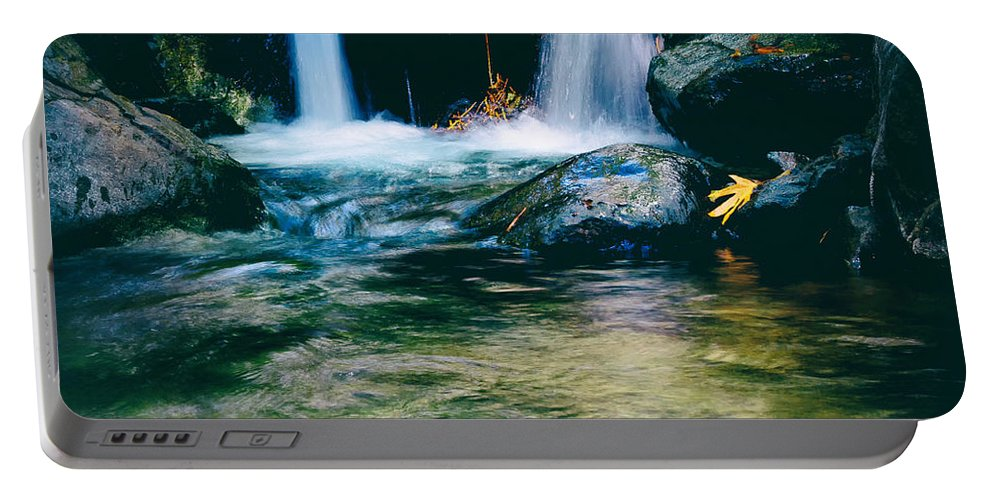 Autumn Portable Battery Charger featuring the photograph Twin Waterfall by Stelios Kleanthous