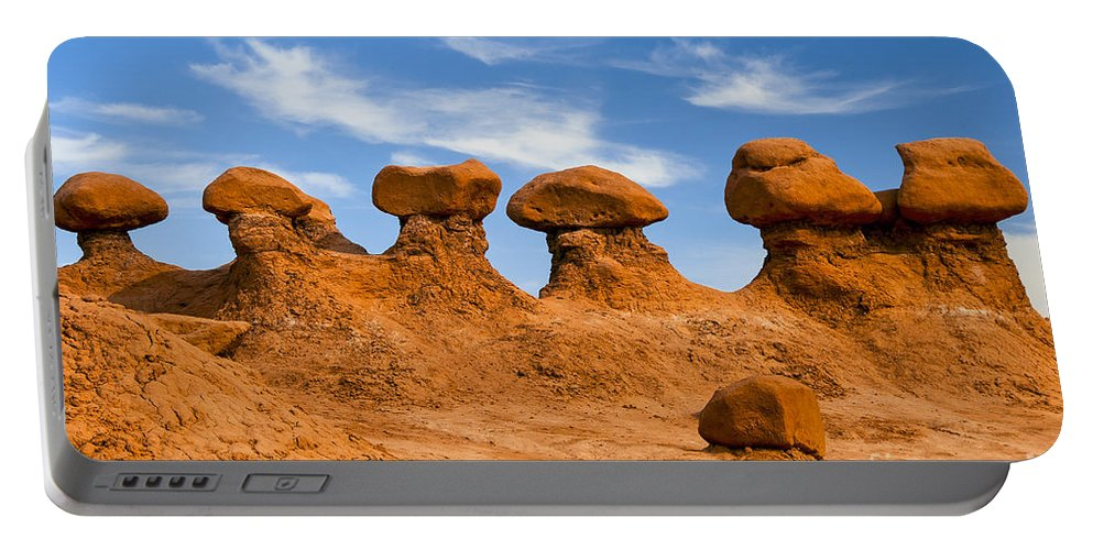 Goblin Valley State Park Utah Red Rock Formations Formations Goblins Winter Snow Landscape Landscapes Portable Battery Charger featuring the photograph Twins And Sibblings by Bob Phillips