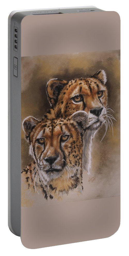 Cheetah Portable Battery Charger featuring the pastel Twins by Barbara Keith