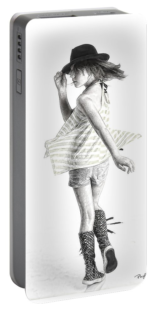 Girl Dancing Portable Battery Charger featuring the digital art Twirl by Phyllis Taylor