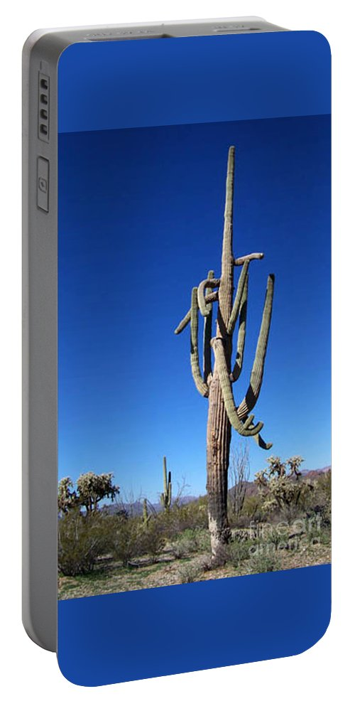 Sahuaro Portable Battery Charger featuring the photograph Twisted Sentinal by Kathy McClure