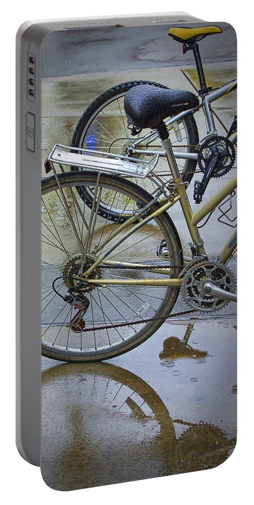 Art Portable Battery Charger featuring the photograph Two Bicycles by Randall Nyhof