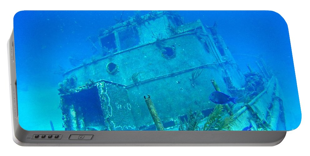 Ship Wreak Art Portable Battery Charger featuring the photograph Two Blue Tang On A Ship Wreak by John Malone