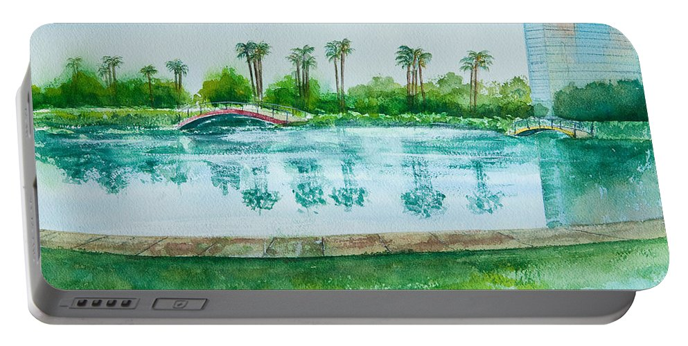 Watercolor Portable Battery Charger featuring the painting Two Bridges At Rainbow Lagoon by Debbie Lewis
