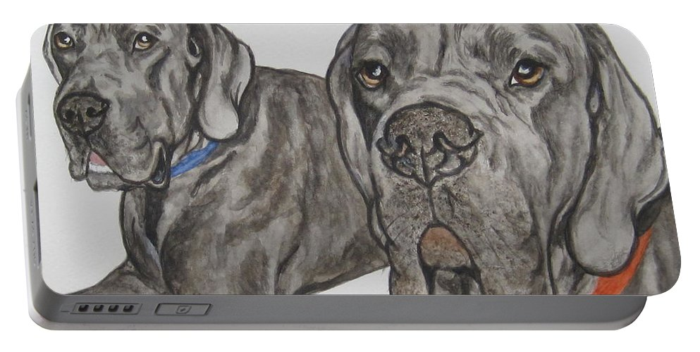 Dog Portable Battery Charger featuring the painting Two Cool Danes by Megan Cohen