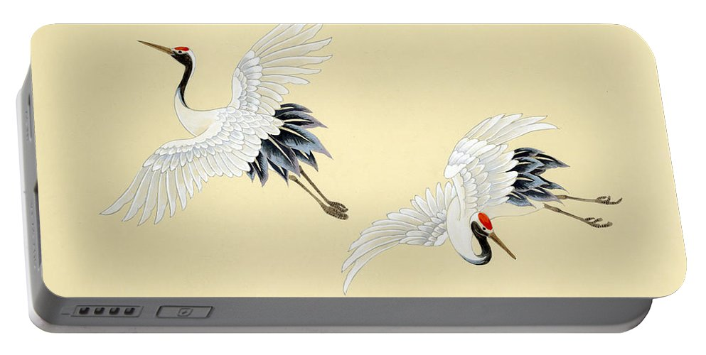 Haruyo Morita Digital Art Portable Battery Charger featuring the digital art Two Cranes by MGL Meiklejohn Graphics Licensing