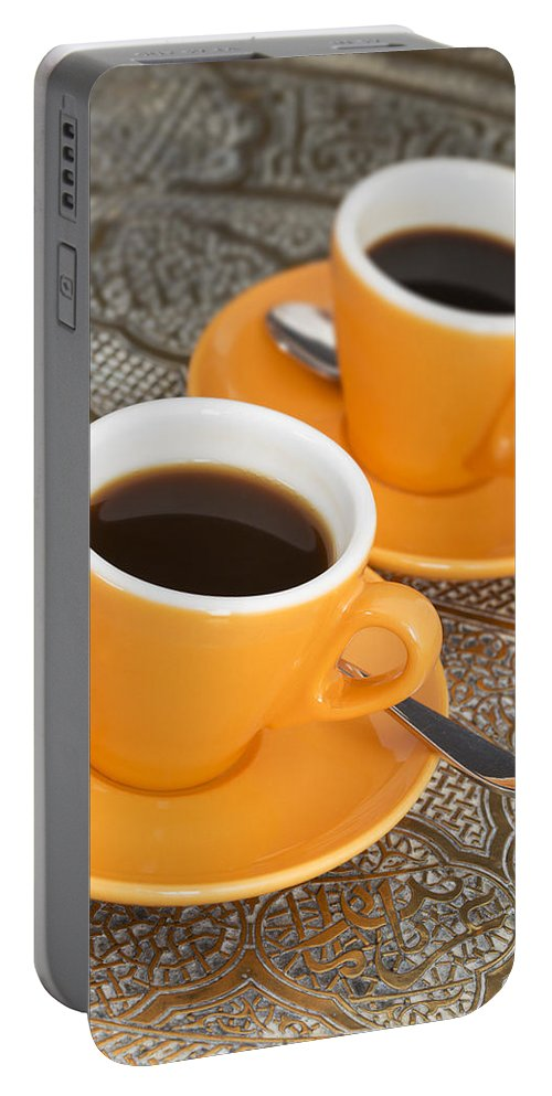 Coffee Portable Battery Charger featuring the photograph Two Cups Of Espresso by Chevy Fleet