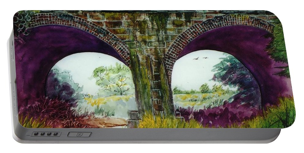 Train Bridge Portable Battery Charger featuring the mixed media Pair Eyes by Don Hand