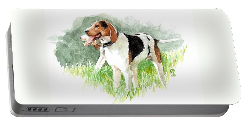 Foxhunt Portable Battery Charger featuring the painting Two Hounds by Debra Jones