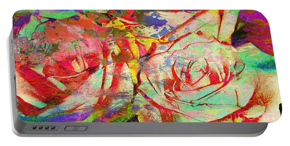Digitalartflower Portable Battery Charger featuring the digital art Two Is Better Than One by Yael VanGruber