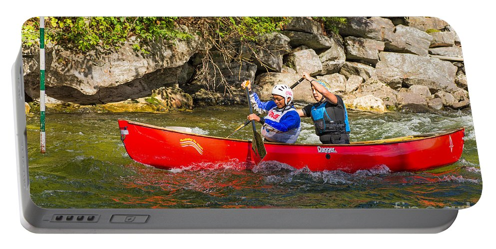 Canoe Portable Battery Charger featuring the photograph Two Men In A Tandem Canoe by Les Palenik