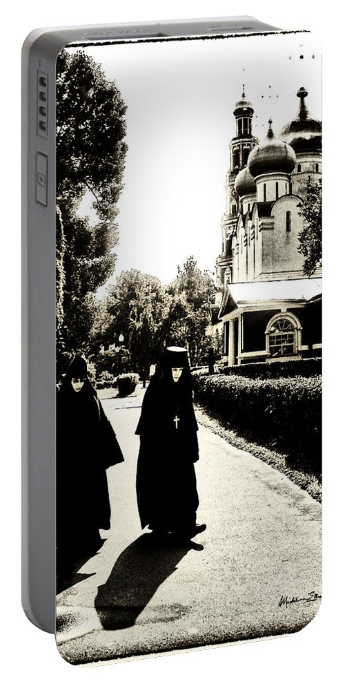 Moscow Portable Battery Charger featuring the photograph Two Nuns - Sepia - Novodevichy Convent - Russia by Madeline Ellis