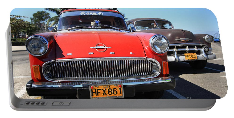 1960's Style Portable Battery Charger featuring the photograph Two Old American Cars by Deborah Benbrook