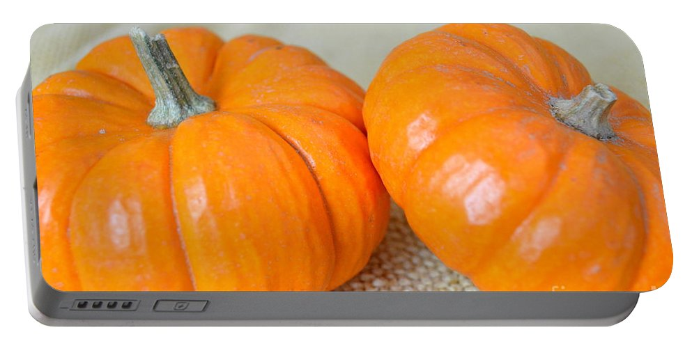 Pumpkin Portable Battery Charger featuring the photograph Two Orange Pumpkins by Mary Deal
