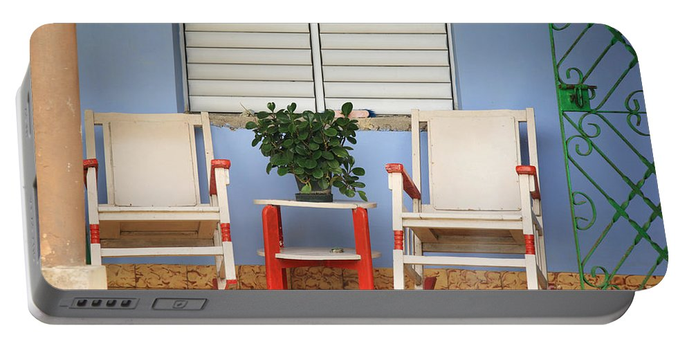 Chairs Portable Battery Charger featuring the photograph Two Rocking Chairs On The Porch by Deborah Benbrook