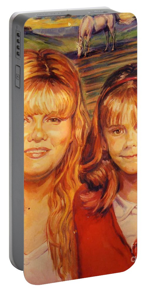 Portrait Portable Battery Charger featuring the painting Two Sisters by Stan Esson
