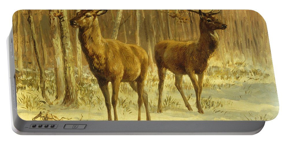Two Stags Portable Battery Charger featuring the painting Two Stags In A Clearing In Winter by Rosa Bonheur