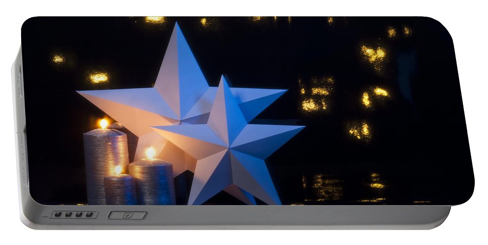 Advent Portable Battery Charger featuring the photograph Two Stars In Front Of Dark Background by U Schade