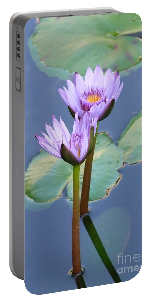 Mary Deal Portable Battery Charger featuring the photograph Two Tall Water Lilies by Mary Deal