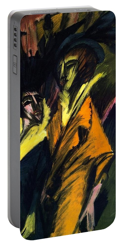 1914 Portable Battery Charger featuring the painting Two Women On The Street by Ernst Ludwig Kirchner