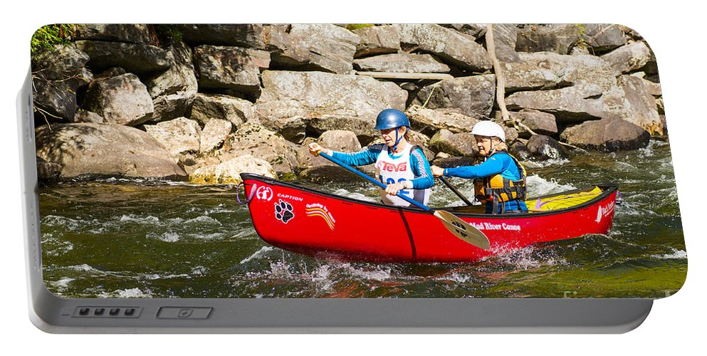 Canoe Portable Battery Charger featuring the photograph Two Women Paddling A Whitewater Canoe by Les Palenik