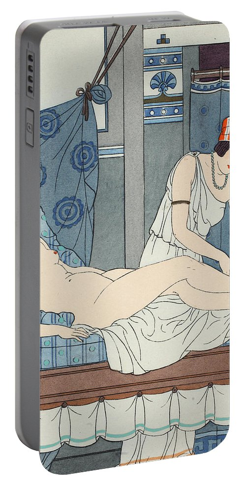 Antiquity Portable Battery Charger featuring the painting Tying The Legs Together by Joseph Kuhn-Regnier