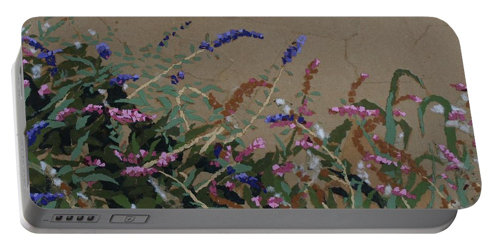 Flowering Butterfly Bush Portable Battery Charger featuring the painting Tyler by Leah Tomaino