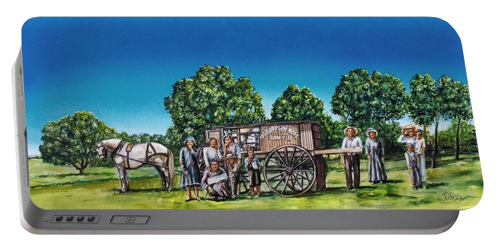 Historic Painting Portable Battery Charger featuring the painting U. G. Earp And Family by Todd Spaur