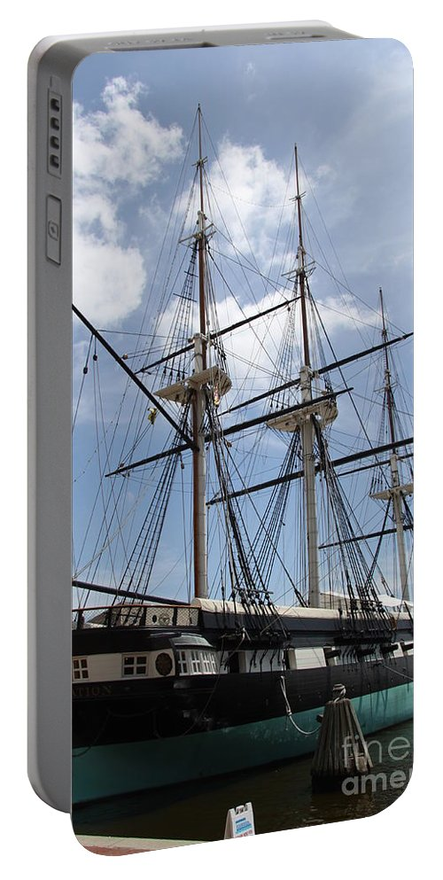 All Sail War Ship Portable Battery Charger featuring the photograph U S S Constellation by Christiane Schulze Art And Photography