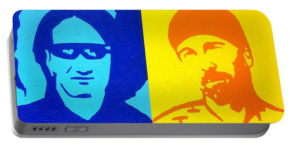 Acrylic Portable Battery Charger featuring the painting U2 by John Nolan