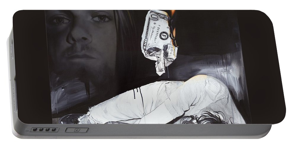 Seattle Portable Battery Charger featuring the painting #uck Fame by Christian Chapman Art