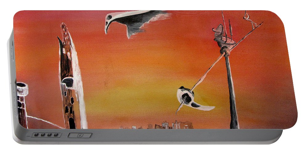 Uglydream Portable Battery Charger featuring the painting Uglydream911 by Helmut Rottler