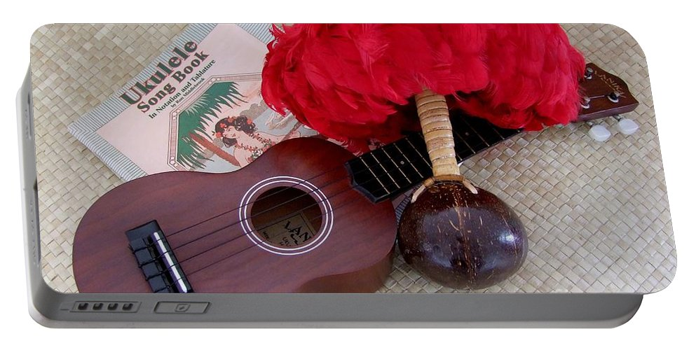 Ukulele Portable Battery Charger featuring the photograph Ukulele Ipu And Songbook by Mary Deal