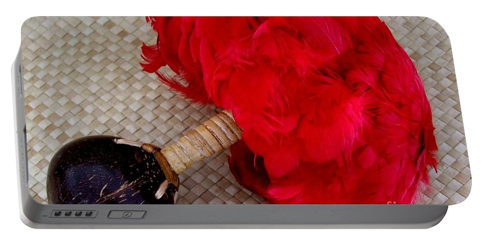 Red Feathers Portable Battery Charger featuring the photograph Uli Uli by Mary Deal