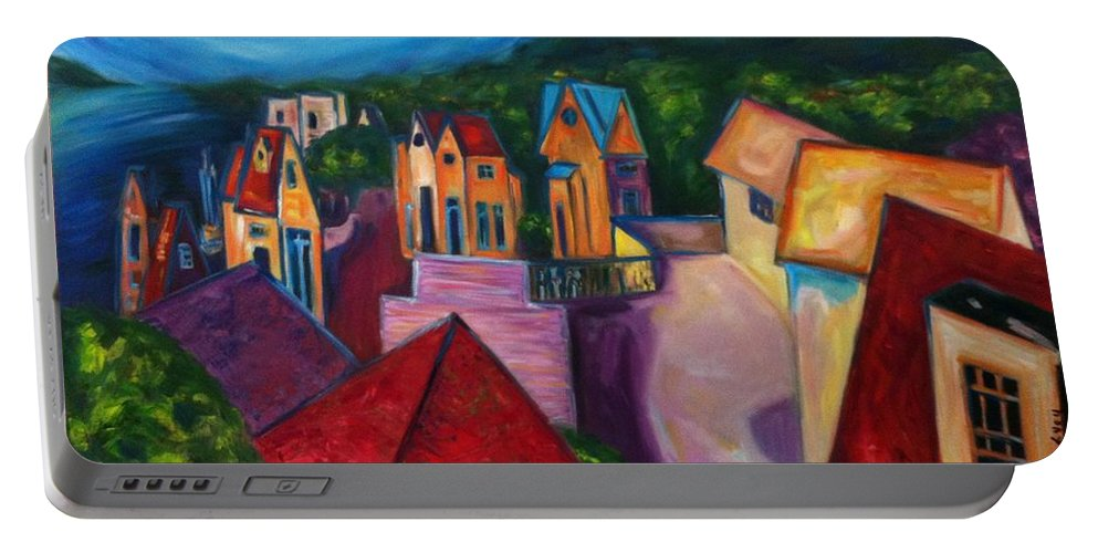 Landscape Portable Battery Charger featuring the painting Ultimate Passion by Janet Lilethia Harvey