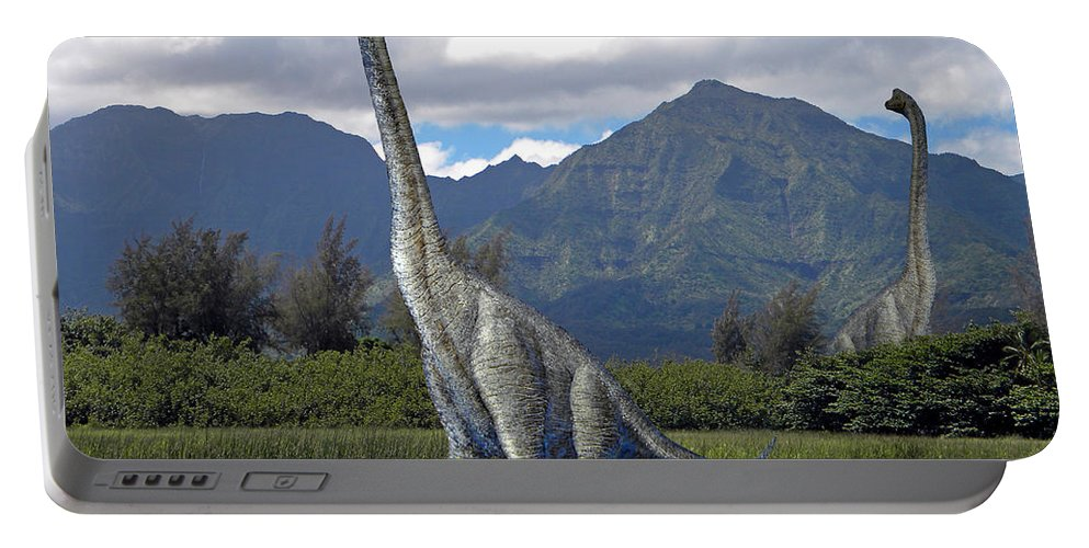 Dinosaur Art Portable Battery Charger featuring the mixed media Ultrasaurus In Meadow by Frank Wilson