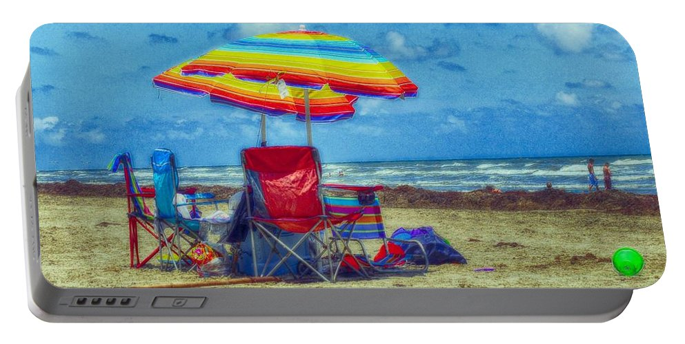 Beach Portable Battery Charger featuring the photograph Umbrellas At The Beach by Kristina Deane